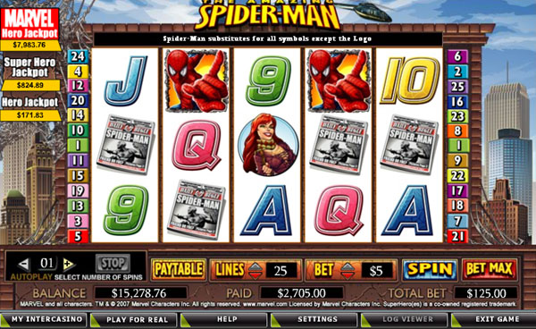 Marvel's spiderman slot screenshot