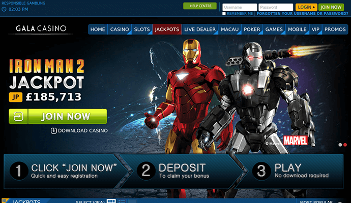 Iron Man slot machine at Gala Casino screenshot